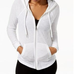 calvin klein performance white fullzip hoodie